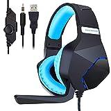 Mmhdz Gaming Headset mit Mikrofon für PS4 Xbox One PC, Kopfhörer mit Mikrofon Kopfhörer mit Mikrofon Noise Cancelling für Nintendo Switch Tablet-Telefon Computer Mac (Schwarz)