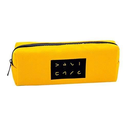 MENTIN Kawaii Bolsa de lápices estuche escolar escolar bolsillo lápiz Case Cosmética Bolsa Pencil Holder para niño niña adolescente, color amarillo M
