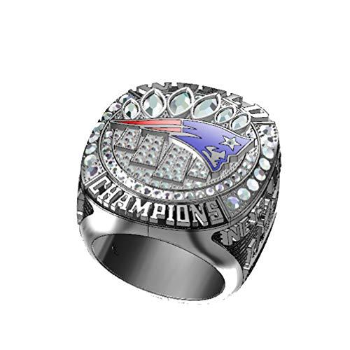 WANZIJING Männliche Ringe, New England Patriots Super Bowl Meisterschaft Ringe Alloy Ring für Freund Sammlerstück,11 - Bowl In Crystal