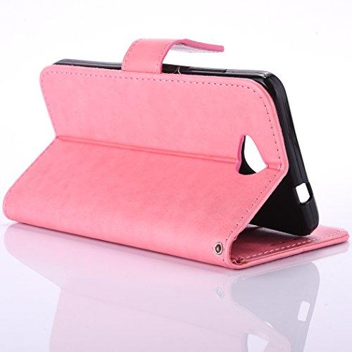 iPhone 6 Plus Custodia, iPhone 6 Plus Cover,Cozy Hut® Elegante Borsa in Pelle Custodia Case Cover Protezione Chiusura Ventosa, Fiore di farfalla Design Case farfalla Pattern - Custodia in pelle con su rosa