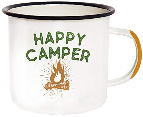 Emaille Camping Becher Thermobecher-Morning Coffee Becher, 454ml (455ml) größer als der Wettbewerb-Zinn Tasse Lagerfeuer Tasse für draußen, Frühstück Wanderlust Travel Cup für die Happy Camper. - Happy Camper Becher