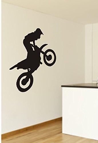 Wandtattoo, Motocross, Motorrad, Sportmotiv, verschiedene Farben und Größen (M070 Schwarz, 600 mm x 550 mm)
