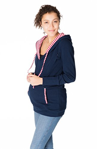GoFutureWithLove - Robe spécial grossesse - Manches Longues - Femme Marine mit rotweißen Streifen