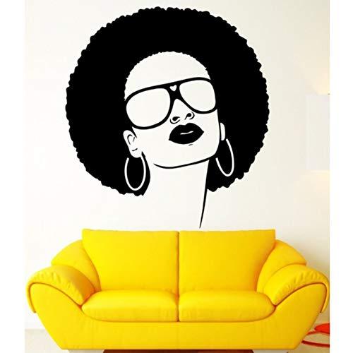 Mgdtt HeißerVerkauf Mädchen Vinyl Wandtattoo Afrikanische Schwarze Hippie Frau Sonnenbrille Ohrringe Wandkunst Wandaufkleber Schönheitssalon Decorration 55X55 Cm
