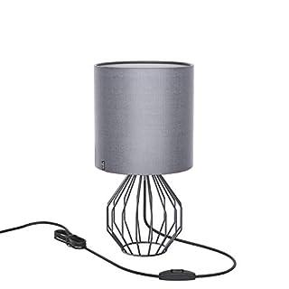 Tischlampe, Nachttisch Minimalistische Stoff Schreibtischlampe, Aglaia Moderne Silber Chrom Metallkorb Käfig Stil mit einem Silber Stoff Schatten und 4W LED Lampe [Warmes Weiß]
