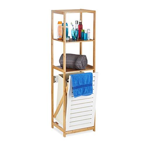 Relaxdays Badregal mit Wäschekorb, Badezimmer Regal Bambus, Standregal schmal, 3 Fächer, HxBxT:...