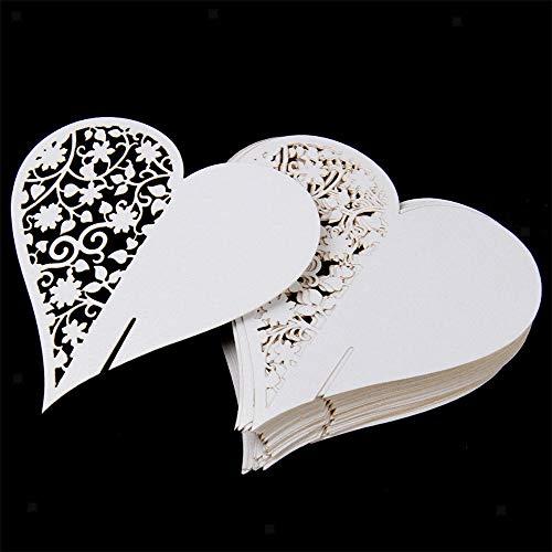 DOXMAL 50x Schimmer Tischkärtchen Weiß Laser Cut Herz sitzkarten Hochzeit Namenskarten Hochzeitsfeier Champagner Tischdeko Glasahänger für Hochzeiten Feste (Herz)