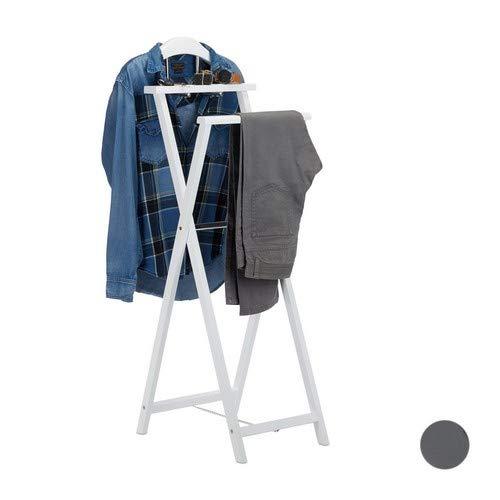 Relaxdays Herrendiener klappbar, Kleiderbutler f. Jacket u. Hosen, m. Ablage, f. Damen, Stummer Diener, MDF Holz, weiß