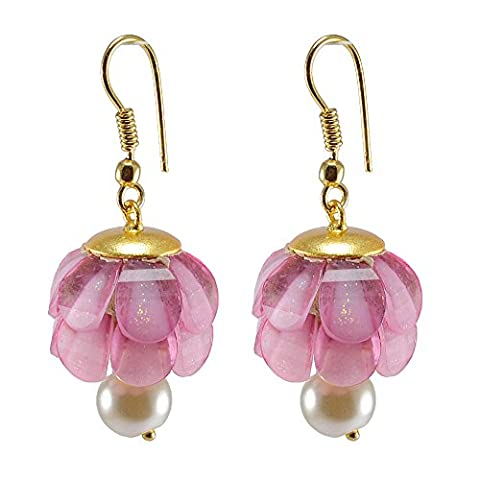 Silvestoo India Pink Crystal & Pearl Gold Plated Earring PG-131917