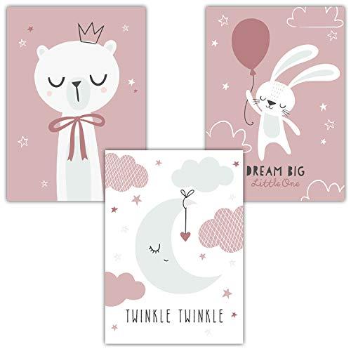 Frechdax® 3er Set Kinderzimmer Poster Baby Kinderposter Deko Junge & Mädchen (3er Set Mint, Rosa, Twinkle Twinkle)