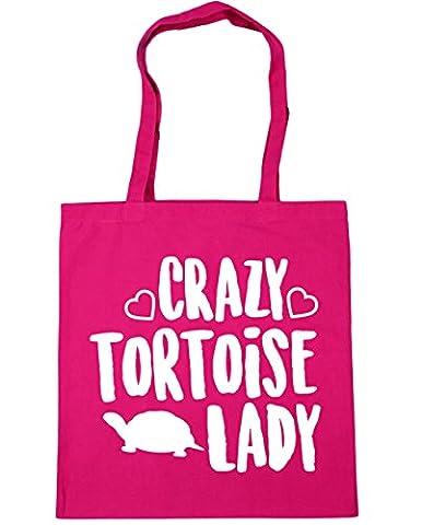HippoWarehouse Crazy tortoise lady Tote Shopping Gym Beach Bag 42cm x38cm, 10 litres