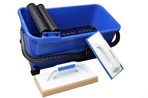 Armar Trading LTD Kit d'outils de pose de carrelage professionnels Taloche à joints, taloche à éponge, rouleaux et seau