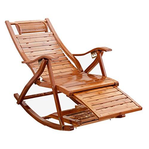 GUOOK Bequemer Relax Schaukelstuhl aus Holz Sun-Lounge Chair  Einstellbare Liege, Sonnenliege, Solarium
