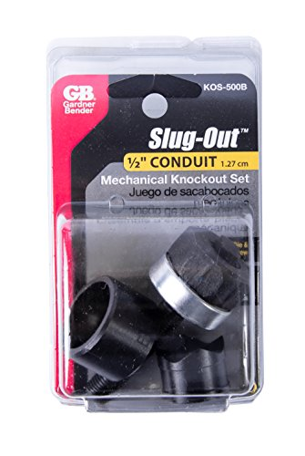Gardner Bender KOS-500B Slug-Out Mechanical Knockout Set, Contractor Punch, Die & Drive Screw, ½ Inch. Conduit Pipe Size Cutting Diameter, 10 AWG Mild Steel & 12 AWG Stainless Steel
