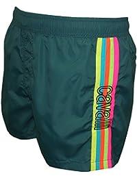 Just Cavalli Rainbow Side Stripe Men's Swim Shorts, Teal Blue