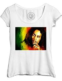 74b313b4c67 Fabulous T-Shirt Femme Col Rond Echancré Bob Marley Legende Reggae Musique  Jamaique Rastafari