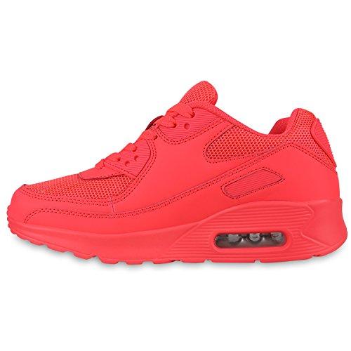 Damen Neon Runners Sportschuhe Schnürer Profilsohle Laufschuhe Neonpink v1wTvqB