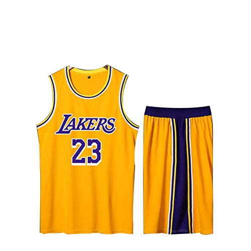 Lebron James 23 Herren Basketball Trikot XS-XXXL 90S Hip Hop Kleidung für Party, Los Angeles Lakers Basketball Kleidung, Great Material Real Jersey-Yellow-M