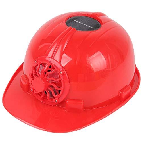 SUJING Schutzhut, verstellbarer Helmkopfschutz, persönliche Schutzausrüstung mit solarbetriebenem Kühlventilator, rot, 290 x 230 x 150mm