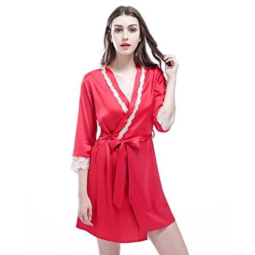 Vestaglie Raso Donna,Accappatoio Pizzo Sexy Seta Elegante Camicia da Notte Vestiti Pigiama Set di 2 Pezzi Rosso