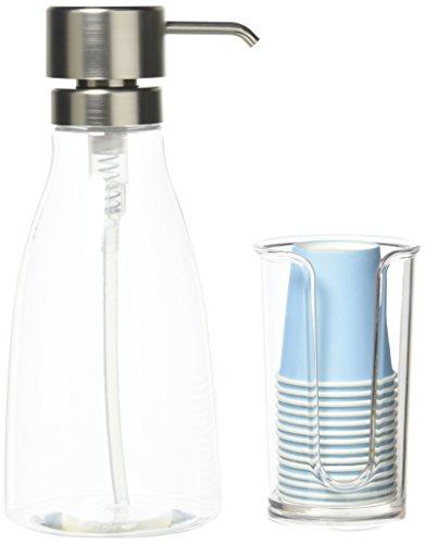 mDesign Mundhygiene-Set - Pappbecherspender & Pumpspender für Mundspülung - Papierbecherspender aus BPA-freiem Kunststoff - 14 Einwegbecher inklusive - durchsichtig/silber