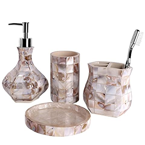 Creative Scents Milano Bath Ensemble, 4 Piece Bathroom Accessories Set, Mother of Pearl Milano Collection Bath Set Features Soap Dispenser, Toothbrush Holder, Tumbler, Soap Dish - Natural Mosaic