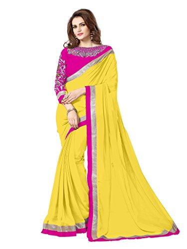 Elevate Women Embroidered Fashion Georgette Saree (Yellow)  available at amazon for Rs.529