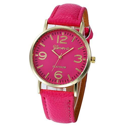 WLFPEG Neue Uhren für Frauen Casual Checkers Kunstleder Quarz Analog Armbanduhr Women's Watche Hot Pink Checker