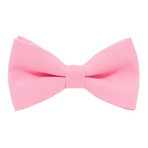 Bow Tie House Classic Pre-Tied Bow Tie Formal Solid Tuxedo, by (Large, Pink)