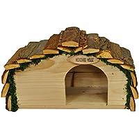 Selections, casetta per ricci, in legno, con tetto in corteccia