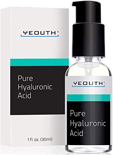 YEOUTH Hyaluronsäure-Serum fürs Gesicht - 100% rein, klinisch, stark, Anti-Aging-Formel! Absorbiert Wasser, füllt die Haut auf & spendet Feuchtigkeit, reduziert Falten -Natürliche Feuchtigkeitspflege -