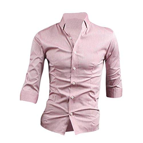 Jeansian Hommes Medium Manches Slim Affaires De Uniforme Mens Casual Dress Shirt 8534 pink