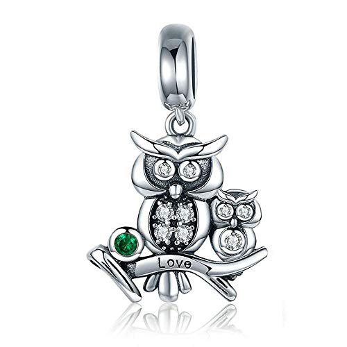ANLW Pandora Charms Bead Owl Familie 925 Sterling Silber Bead Charms fit Woman Charms Armband