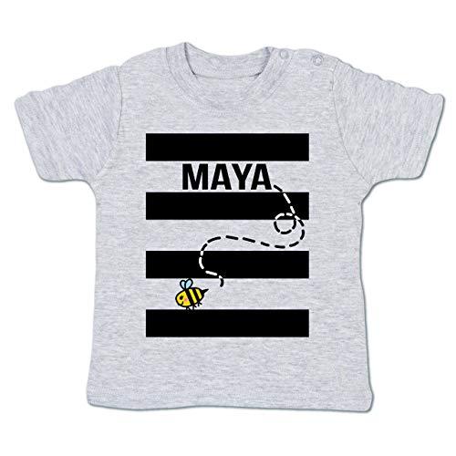 (Shirtracer Karneval und Fasching Baby - Bienen Kostüm Maja - 3-6 Monate - Grau meliert - BZ02 - Babyshirt Kurzarm)