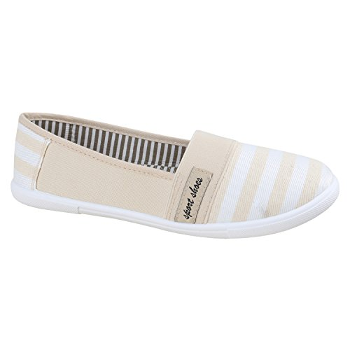 Bequeme Damen Slipper | Slip-ons Sportliche Schuhe | Flats Stoffschuhe | Prints Glitzer | Freizeitschuhe Creme Weiss