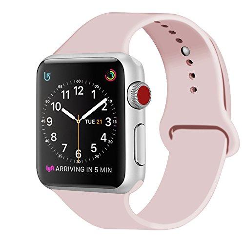 ZRO para Apple Watch Correa, Silicona Suave Reemplazo Sport Banda para 38mm iWatch Serie 3/ Serie 2/ Serie 1, Talla S/M, Arena Rosa