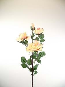 Head 4-Spray Rose Peach-künstliche Blumen