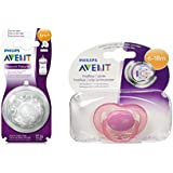 Philips Avent Natural Teat 4 Holes Fast Flow - 6months+ (2Pc) With Philips Avent Soother Fast Flow - 6 To 18 Months (Color May Vary)