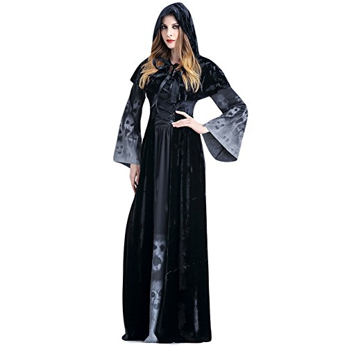 Costour Frauen Cosplay Satan Hexe Vampir Kostüm Halloween Party Schwarz