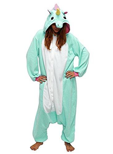 Preisvergleich Produktbild Mescara Einhorn Kostüm Pyjama Jumpsuit Cosplay Schalfanzug Festliche Anzug Flanell Tierkostüm Kartonkostüm Tierschalfanzug (L / EU38,  Hellgrün)