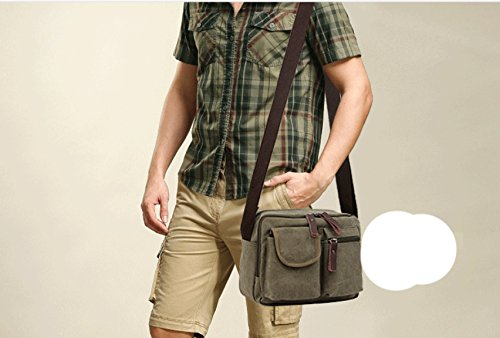 LAIDAYE Lässig Bote Männer Tasche Business Freizeit Mehrzweck- Reiserucksack Green