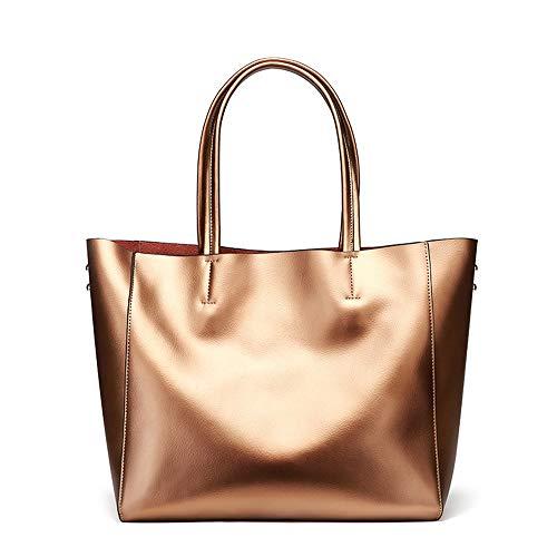 Kieuyhqk Damen Handtaschen aus weichem Leder mit großer Kapazität Retro Vintage Top-Griff Casual Tote Umhängetaschen Women's Casual Handbag Schulter-Handtasche (Color : Bronze)