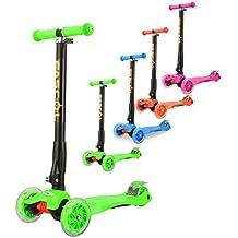 Fascol® Patinete de 3 ruedas con diseño scooter para niños de 2-15 años de edad + rodillera Verde