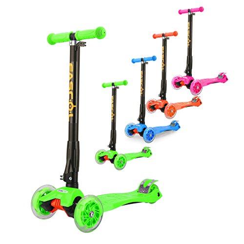 Fascol Kinderroller Scooter Klappbar Roller ab 3 -12 Jahre Leuchtende Räder Tretroller Cityroller mit Knieschützer und Ellenbogenschützer Belastbarkeit bis 60 kg, Grün Test