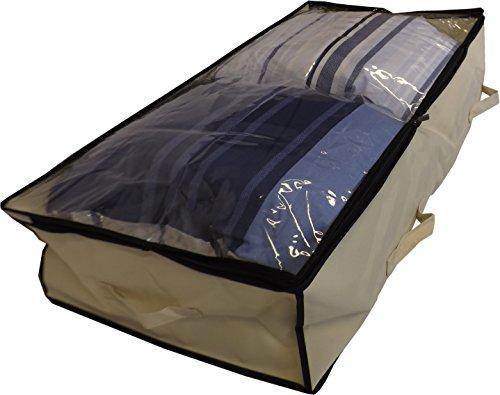 Neusu Starke Unterbettkommode, Durchsichtigem Verschluss, 100 Liter 100x50x20cm, Beige (Vorhänge Voll Bettwäsche Bettdecke)