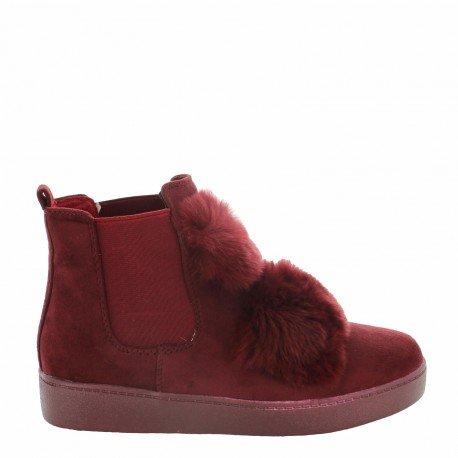 Ideal Shoes - Bottines style chelsea effet daim avec fourrure Pierrette Rouge