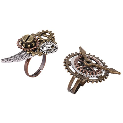 Sharplace Retro Punk Gothic Stil Steampunk Getriebe Engel Flügel Ring Frauen Männer Modeschmuck (Engel Getriebe)