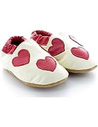 Chaussons Bébé en Cuir Souple Coeur Blanc
