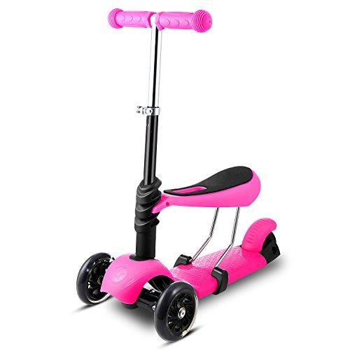 Swteeys 3 in 1 Kinderroller Dreiradscooter Kick Scooter Sitzscooter mit Abnehmbarem Sitz mit Verstellbarem Lenker Griff für Kinder ab 3 Jahre bis 50kg