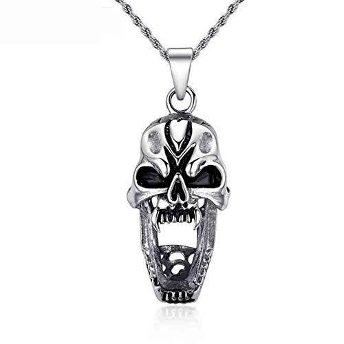 J.Memi.FA Halskette Edelstahl Totenkopf Skull Anhänger Biker Gotik Schädel mit Kette Halsband Punk Rock Schmuck, Halloween Accessoires,A